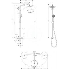 Hansgrohe Sprchový set Reno, 220 mm, sprchové rameno 400 mm, 1 proud, chrom 27224000