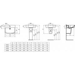 Ideal Standard Umyvadlo 500x440x190 mm, s 1 otvorem pro baterii, bílá T058801