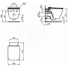 Ideal Standard Závěsné WC s ultra plochým sedátkem SoftClose, Aquablade, bílá T359601