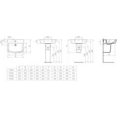 Ideal Standard Umyvadlo 550x450x185 mm, s 1 otvorem pro baterii, bílá T058601