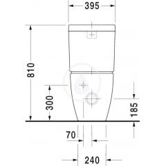 Duravit Splachovací nádrž 395x160 mm, připojení vpravo nebo vlevo, s WonderGliss, alpská bílá 09340000051