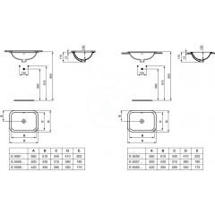 Ideal Standard Umyvadlo zápustné hranaté, 580x175x410 mm, bílá E505901