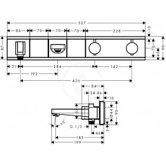 Hansgrohe Termostatická vanová baterie pod omítku, se 2 výstupy, bílá/chrom 15359400
