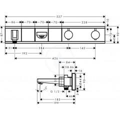 Hansgrohe Termostatická vanová baterie pod omítku pro 2 spotřebiče, černá/chrom 15359600