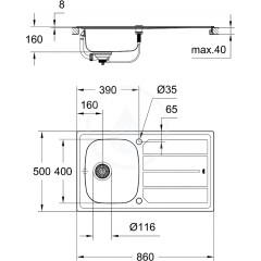 Grohe Dřez K200 s automatickým odtokem, 860x500 mm 31552SD0