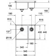 Grohe Nerezový dřez K700U, 585x440 mm 31577SD0