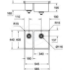 Grohe Nerezový dřez K700U, 585x440 mm 31576SD0