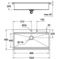 Grohe Dřez K800 s automatickým odtokem, 1024x560 mm 31586SD0