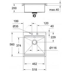 Grohe Dřez K800 s automatickým odtokem, 518x560 mm 31583SD0
