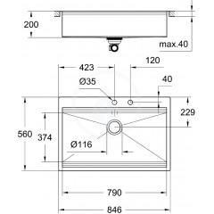 Grohe Dřez K800 s automatickým odtokem, 846x560 mm 31584SD0