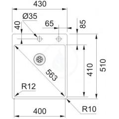 Franke Nerezový dřez BXX 210/610-40 TL, 430x510 mm 127.0369.288