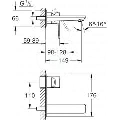 Grohe Umyvadlová baterie L pod omítku, 2-otvorová instalace, supersteel 23444DC1