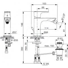 Ideal Standard Bidetová baterie s výpustí, chrom A7030AA