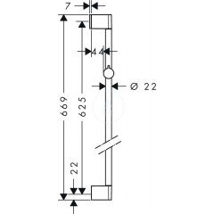 Hansgrohe Sprchová tyč 650 mm, chrom 26505000