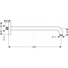 Hansgrohe Sprchové rameno, délka 389 mm, chrom 27446000
