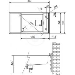 Franke Fragranitový dřez FSG 211, 860x458 mm, onyx 135.0539.538