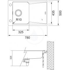 Franke Fragranitový dřez FXG 611-78, 780x500 mm, tmavě hnědá 114.0540.829