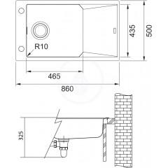 Franke Fragranitový dřez FXG 611-86, 860x500 mm, šedý kámen 114.0540.929