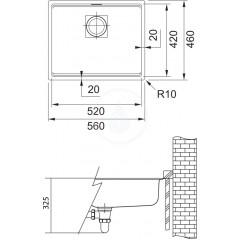 Franke Fragranitový dřez KNG 110-52, 560x460 mm, šedý kámen 125.0512.507