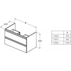 Ideal Standard Skříňka pod umyvadlo, 1000x440x490 mm, lesklá bílá T0052OV