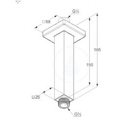 Kludi Sprchové rameno stropní, 150 mm, chrom 6654505-00