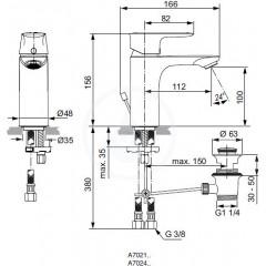 Ideal Standard Umyvadlová baterie s výpustí, chrom A7021AA