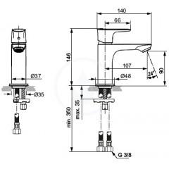 Ideal Standard Umyvadlová baterie Slim, chrom A7010AA