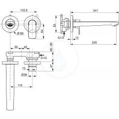 Ideal Standard Umyvadlová podomítková baterie, vývod 225 mm, 2-otvorová instalace, chrom A7009AA
