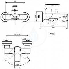 Ideal Standard Vanová baterie, chrom A7033AA