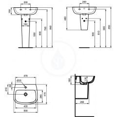 Ideal Standard Umyvadlo, 500x415 mm, bílá T280801