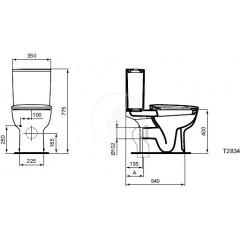 Ideal Standard WC kombi mísa, variabilní odtok, bílá T283401