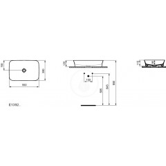 Ideal Standard Umyvadlo, 550x380 mm, bez přepadu, s IdealPlus, bílá E1392MA