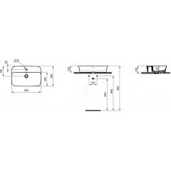 Ideal Standard Umyvadlo, 550x380 mm, s přepadem, s Ideal Plus, bílá E1393MA