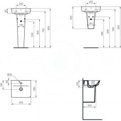 Ideal Standard Umývátko Cube, 400x350x160 mm, s 1 otvorem pro baterii, bílá E030701