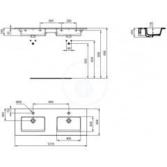 Ideal Standard Dvojumyvadlo, 1215x450 mm, s přepadem, bílá E053401