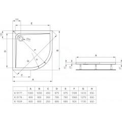 Ideal Standard Sprchová vanička 900x900 mm, bílá K517601