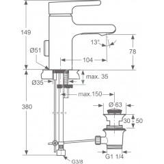 Ideal Standard Umyvadlová baterie Piccolo s odtokovou soupravou, chrom A4754AA