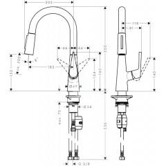 Hansgrohe Páková dřezová baterie 160 s vytažitelnou sprškou, vzhled nerezu 72815800