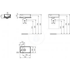 Ideal Standard Umývátko 450x270 mm, otvor pro baterii vlevo, s Ideal Plus, bílá T2995MA