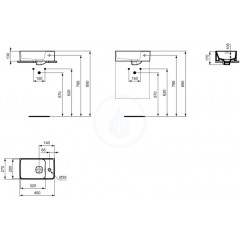 Ideal Standard Umývátko 450x270 mm, otvor pro baterii vpravo, s Ideal Plus, bílá T2994MA