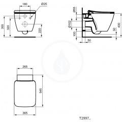Ideal Standard Závěsné WC, AquaBlade, bílá T299701