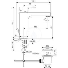 Ideal Standard Umyvadlová baterie Grande s výpustí, chrom A7109AA
