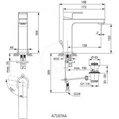 Ideal Standard Umyvadlová baterie Grande Slim s výpustí, BlueStart, chrom A7107AA