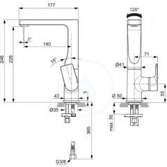 Ideal Standard Umyvadlová baterie s otočným výtokem, chrom A7111AA