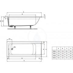Ideal Standard Vana 1500x700 mm, bílá T361301