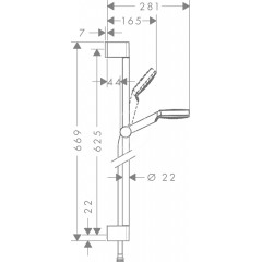 Hansgrohe Sprchová souprava, 100 mm, EcoSmart 9 l/min, bílá/chrom 26535400