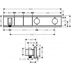 Hansgrohe Termostatická sprchová baterie pod omítku, pro 2 výstupy, černá/chrom 15355600