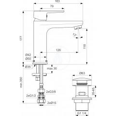 Ideal Standard Umyvadlová baterie s CLICK výpustí, černá/chrom BC202HS