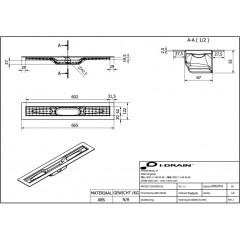 I-Drain ABS sprchový žlab s hydroizolací, délka 600 mm IDABS4M06001X1