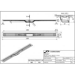 I-Drain ABS sprchový žlab s hydroizolací, délka 1200 mm IDABS4M12001X1